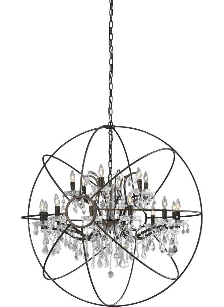 Large Orb Chandelier, Silver/White