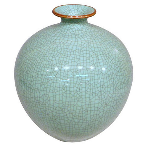 """13"""" Crackle Pomegranate Vase, Celadon"""