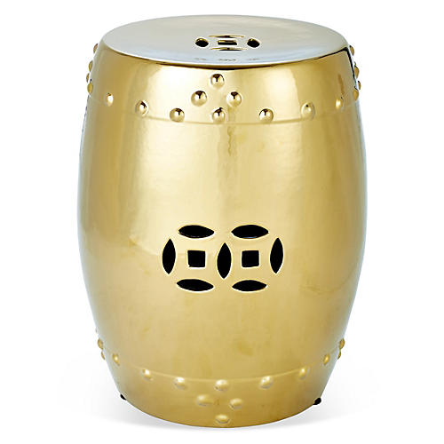 Kelly Round Garden Stool, Gold