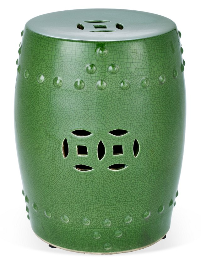 Kelly Garden Stool, Green Crackle
