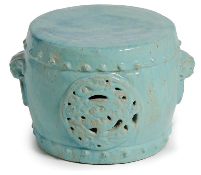 Dragon Medallion Stool, Turquoise