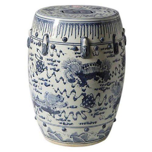 Lion-Motif Garden Stool, Blue/White
