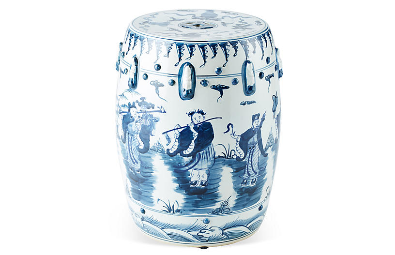 Eight Immortals Garden Stool, Navy by One Kings Lane