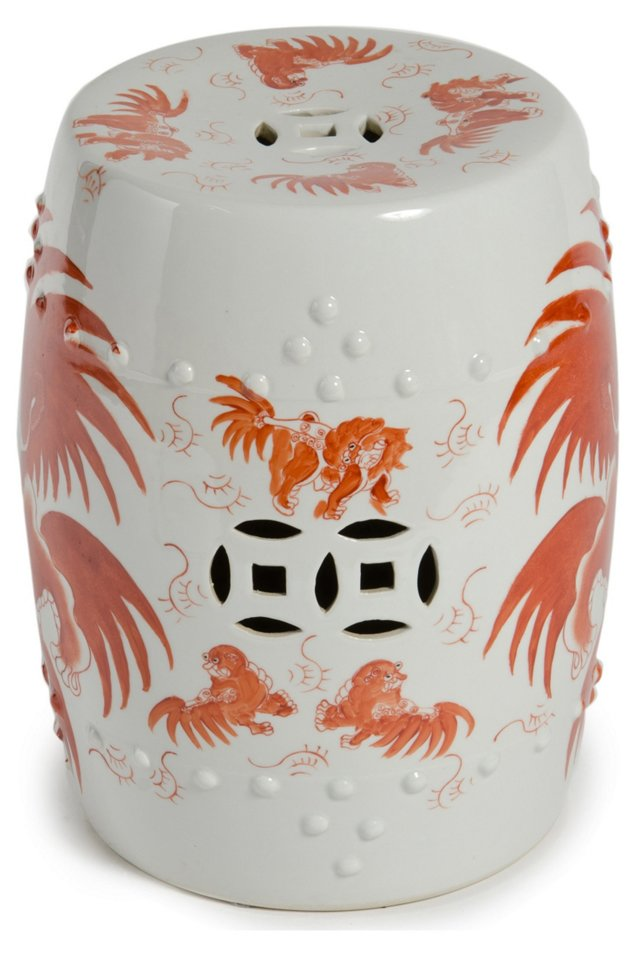 Foo Dog Garden Stool, White/Orange