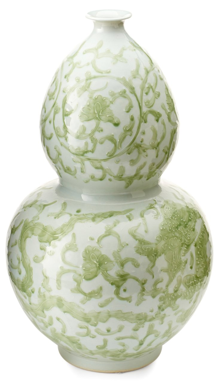 "21"" Porcelain Dragon Gourd Vase, Green"