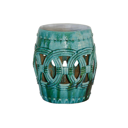 Rope Garden Stool, Turquoise