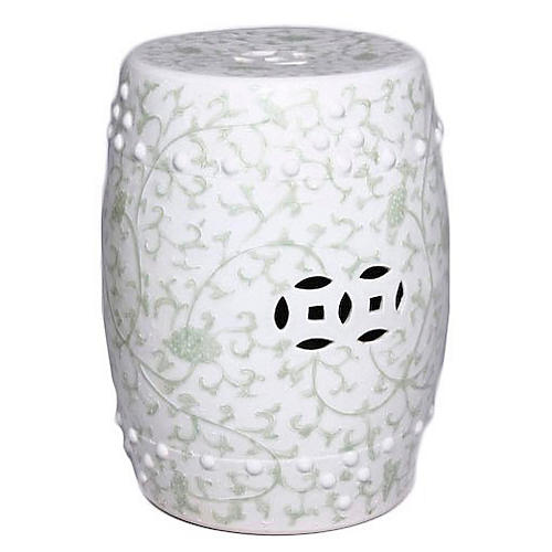 Twisted Lotus Garden Stool, Celadon