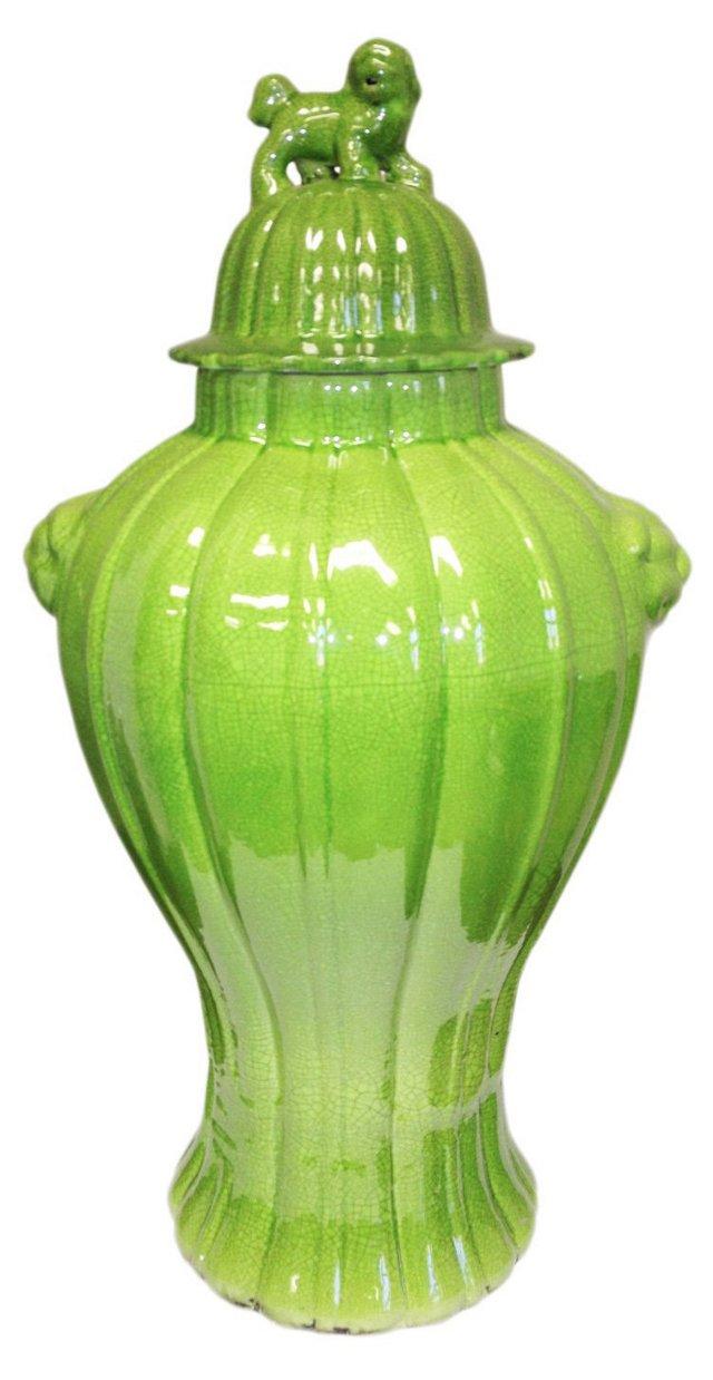 """25"""" Fluted Porcelain Temple Jar"""