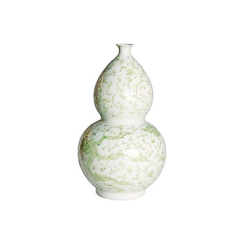 """21"""" Lotus Gourd Vase, Celadon"""