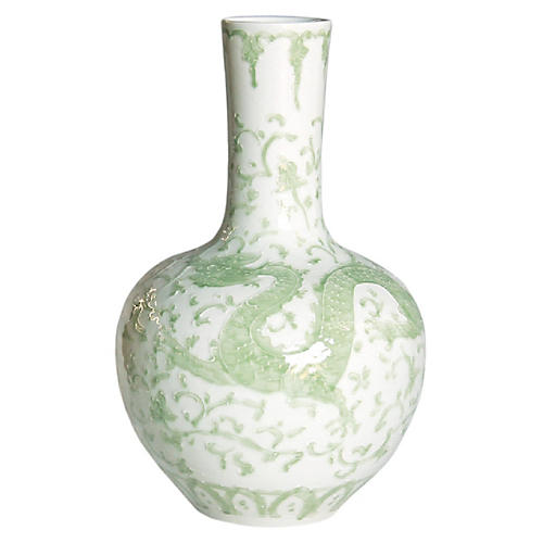 Dragon Lotus Globular Vase, Celadon