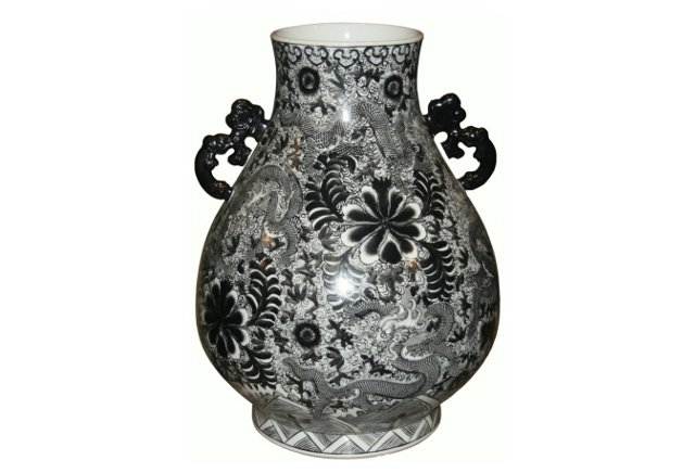 Deer Head Vase, Black/White