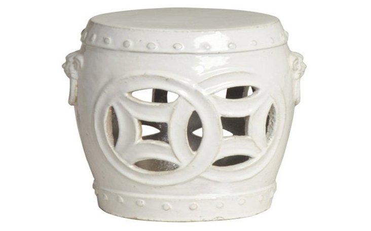Barrel Garden Stool, Cream