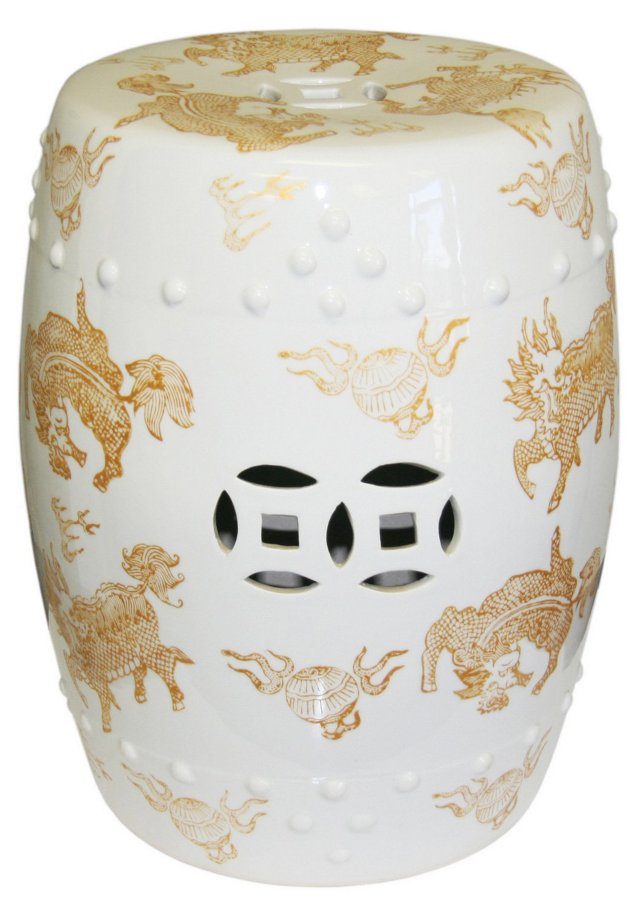 Kelly Garden Stool, White/Gold