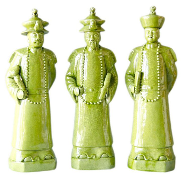 Lime Green Qing Emperors, Set of 3