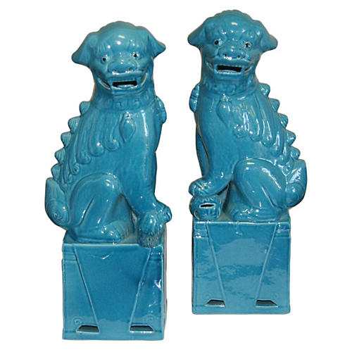 Turquoise Foo Dogs, Pair
