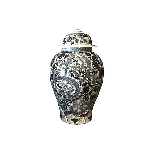 "19"" Dragon Temple Jar, Black/White"