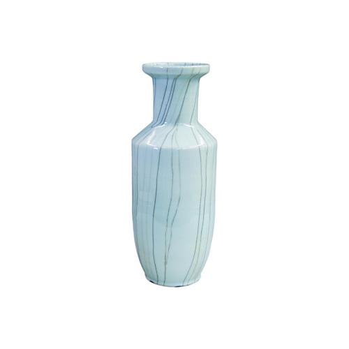 """25"""" Crackle Baozi Vase, Light Blue"""