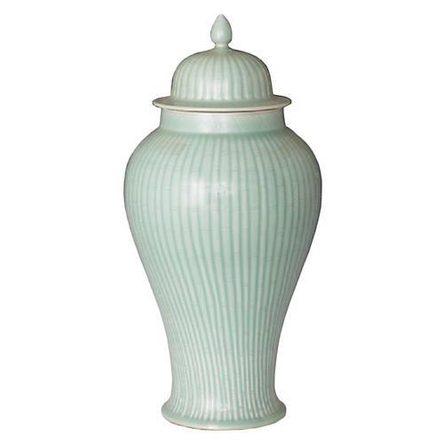 Bamboo Temple Jar, Celadon