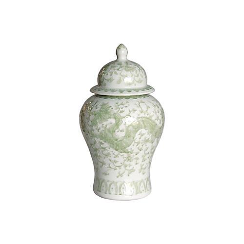 "21"" Dragon Lotus Temple Jar, Green/White"