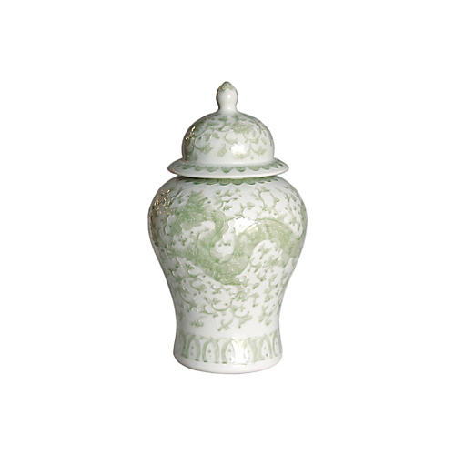 "21"" Dragon Lotus Temple Jar, Green/White"