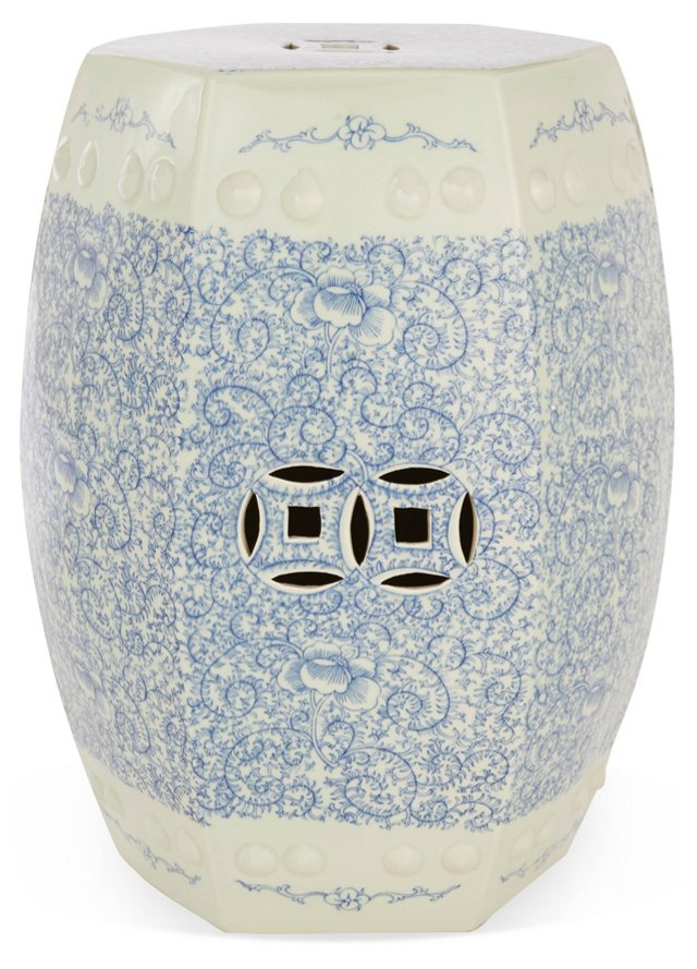 Twisted Lotus Garden Stool, Blue/White