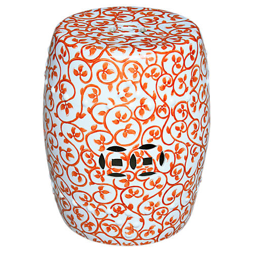 Twisted Lotus Garden Stool, Orange/White