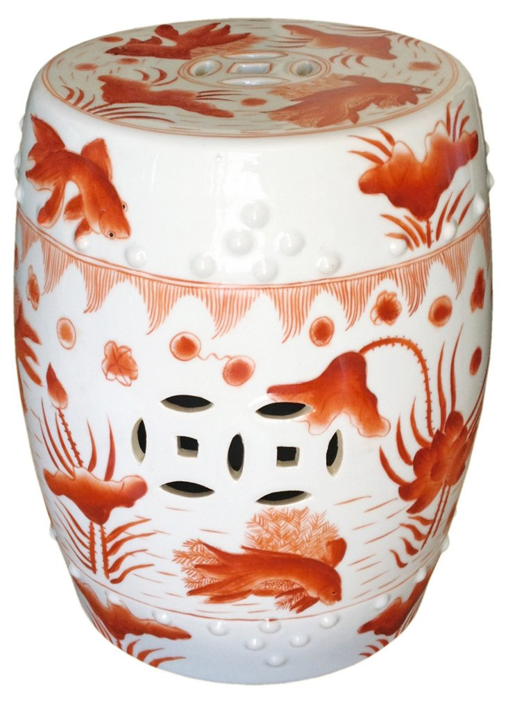 Goldfish Garden Stool, White/Orange