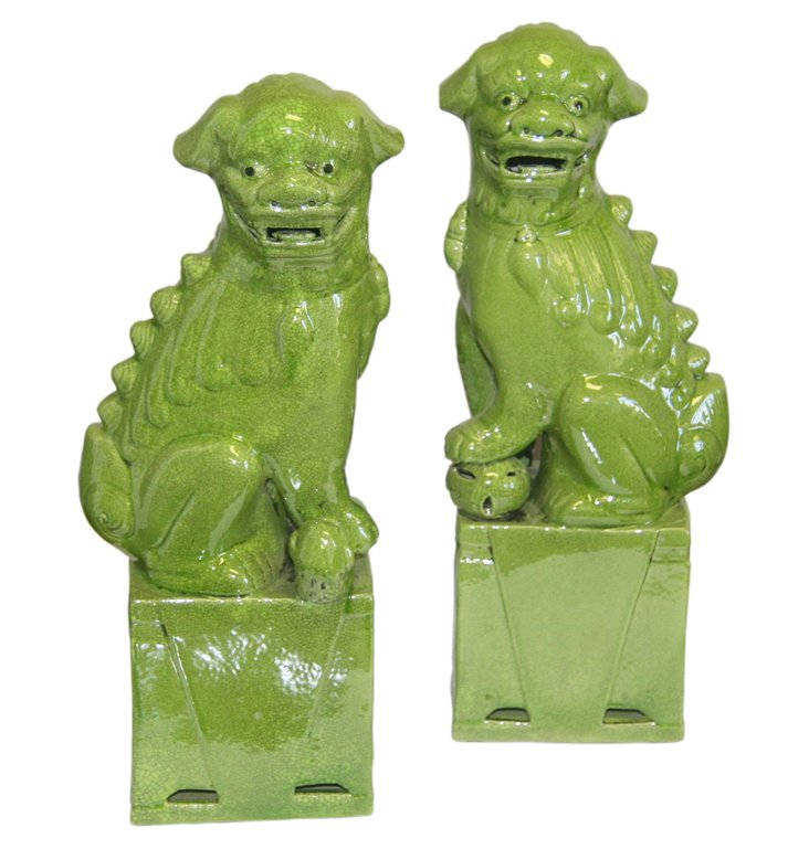 Medium Lime Green Sitting Foo Dogs, Pair