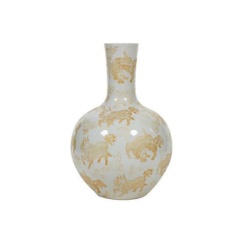 "21"" Kylin Vase, Gold"
