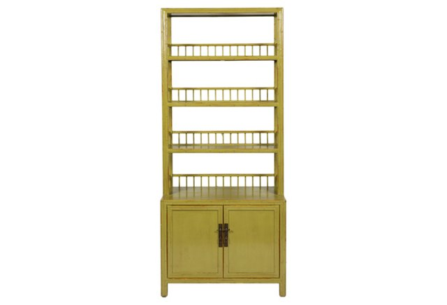 """88"""" Chinese Elm Bookcase, Green"""
