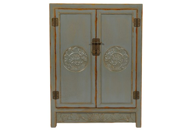 Jane Chinoiserie Carved Cabinet, Slate