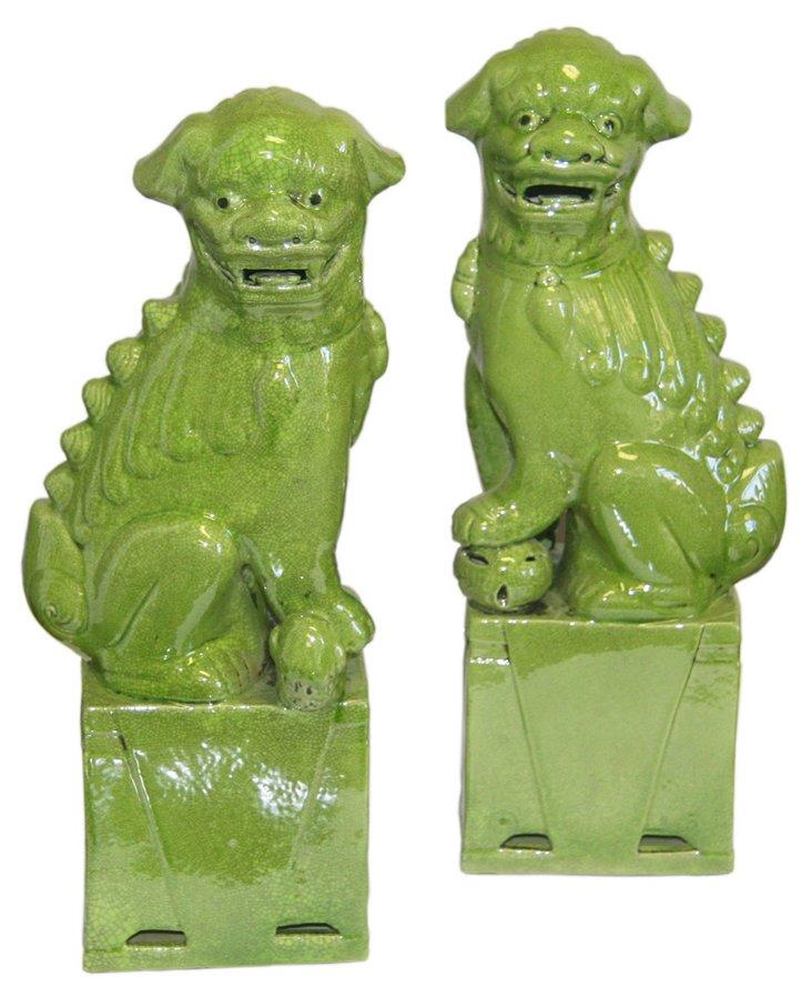 Small Lime Sitting Foo Dog, Pair