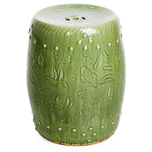 Carved Fish Garden Stool, Sage