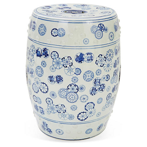 Ava Garden Stool, Blue/White