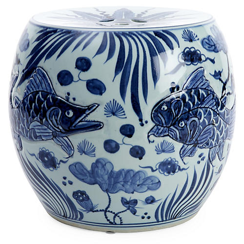 Carved Fish Drum Stool, Blue/White
