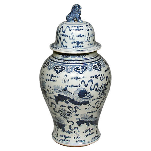 "24"" Foo Dog Temple Jar, Blue/White"