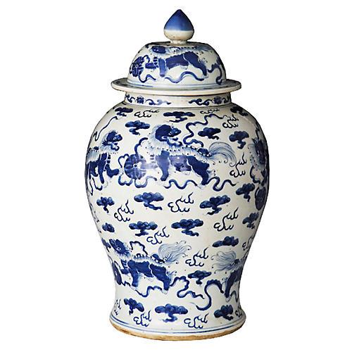 "21"" Foo Dog Temple Jar, Blue/White"