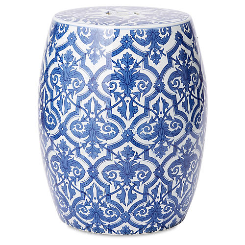 Block Print Garden Stool, Blue/White
