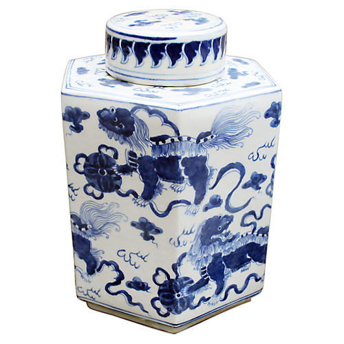 "11"" Lion Hexagonal Tea Jar, Blue/White"