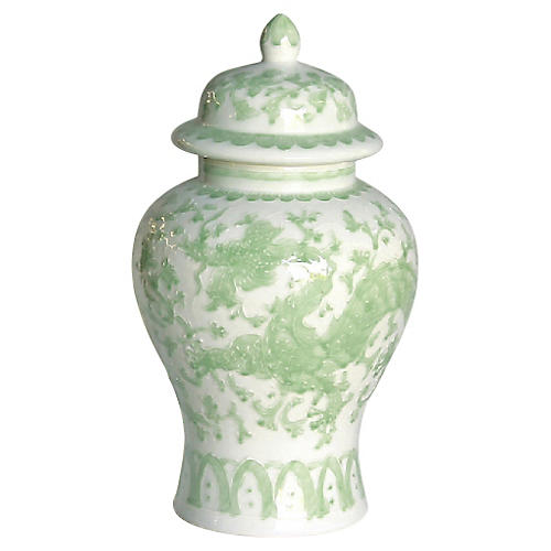 "19"" Dragon Lotus Temple Jar, Green/White"