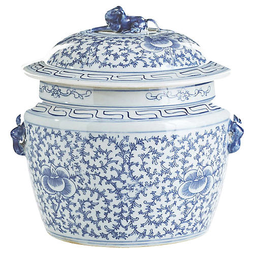 "21"" Lidded Rice Jar, Blue/White"