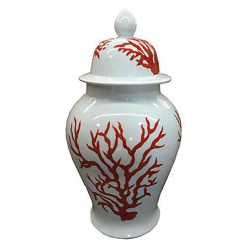 "20"" Temple Jar, Orange/White"