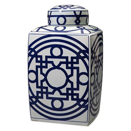 """16"""" Square Tea Jar, Blue/White"""