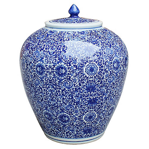 "14"" Cluster Flower Jar, Blue/White"