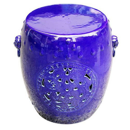 Grass Dragon Garden Stool, Cobalt Blue