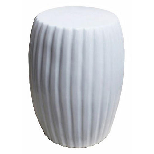 Pumpkin Garden Stool, White