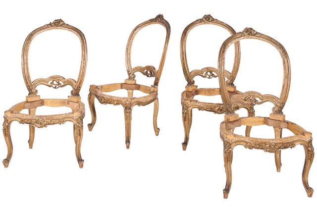 Antique Side Chairs, Set of 4