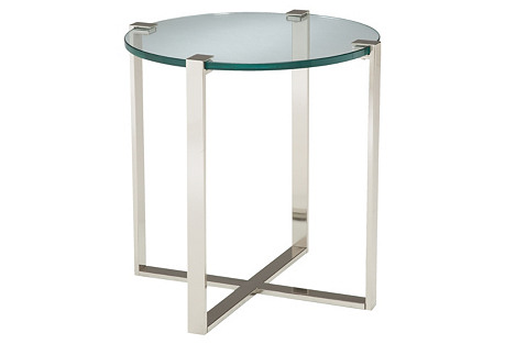 Avery Side Table, Silver/Glass