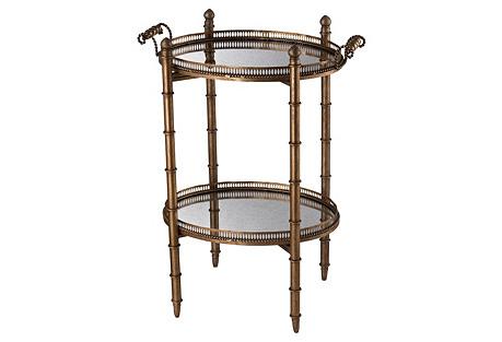 Carol Antiqued Mirror Bar Cart, Bronze