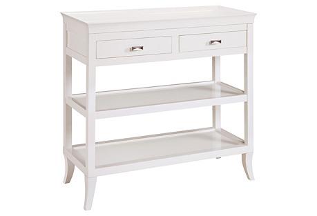Claudia 2-Shelf Console, White